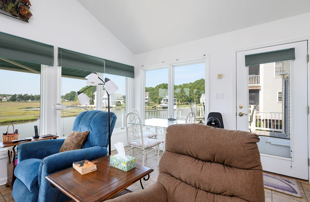 Family Room leads to Waterfront Deck.